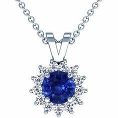 Platinum Round Cut Blue Sapphire And Round Diamond Pendant GemsNY. $1956.00. Save 50% Off!