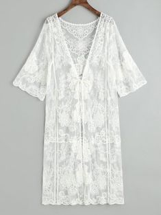 An exquisite floral embroidered beach kimono features deep plunging collar detail with a self tie in the front, sheer tulle material, knee-length flattering cover up detailing. Swimsuits For Teens, Dresses For Teens, Tulle Material, Beach Kimono, Tie Dye Bikini, White Kimono, Bikinis For Sale, Beachwear Fashion, Kinds Of Clothes