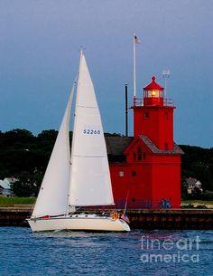Evening Sail At Holland Lighthouse - Michigan