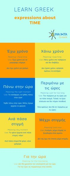Greek expressions about time. Infographic by Alpha Beta Greek Greek Phrases, Greek Words, Greek Alphabet, Alphabet For Kids, German Language Learning, Learn Greek Language, Learning Languages Tips, Greek Quotes, Greek Sayings