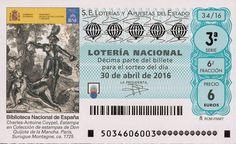Billete de lotería: Don Quijote de La Mancha (Loteria Nacional (Spain), España) (2016 Don Quijote de La Mancha) Col:LN-SP-4714