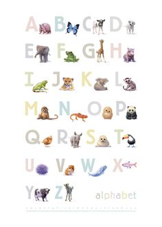 A beautifully illustrated #alphabet poster, what a great way to decorate a #nursery. Art by #johnbutlerart