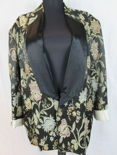 Vtg Z CAVARICCI BROCADE Tuxedo JACKET Women's COAT BLACK FLORAL Retro Print L #ZCavaricci #BasicJacket