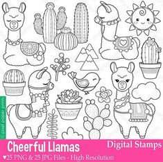 Llama Digital Stamps Alpaca Stamps Line Art Alpacas, Llama Clipart, Scrapbook Kit, Photoshop Elements, Digital Stamps, Art Images, Etsy, Line Art, Coloring Pages