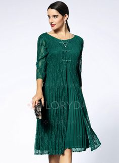 https://www.floryday.com/Solid-Buttons-3-4-Sleeves-Knee-Length-A-Line-Dress-m1029073