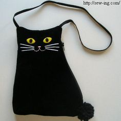 Cloth pouch in cat shape. For all you cat lovers!