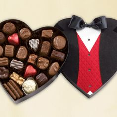 Delectable Valentine's Day bites: Tuxedo Heart candy box, See's Candies, $26.40.