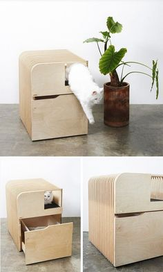 Cats love the security of fully enclosed cat beds and we think the wooden fishbone house for pets by Korean design studio Pote could be the next big thing! Hidden Litter Boxes, Animal Room, Cat Room, Pet Furniture, Cat Accessories, Pet Home, Pet Beds, Dog Houses, Diy Stuffed Animals