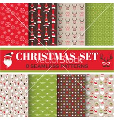 Christmas retro set - 8 seamless patterns vector  - by woodhouse84 on VectorStock®