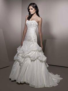 Strapless dropped waist ball gown organza wedding dress