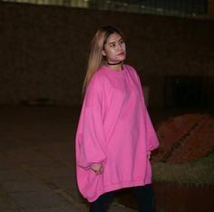 [BEST] Candy Pink Oversized Sweatshirts Dress with Fleece