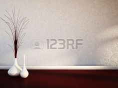 two white vases on the wooden floor Stock Photo
