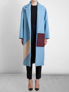Roksanda Felted Wool Colour Block Coat - Browns - Farfetch.com
