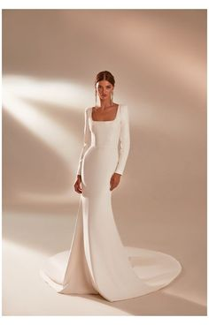 Simple Elegant Wedding Dress, Classic Wedding Dress, White Wedding Dresses, Bridal Dresses, Plain Wedding Dress, Fashion Wedding Dress, Simple Long White Dress, Long Sleeved Wedding Dresses, Bride Dress Simple