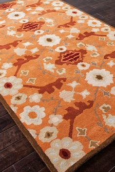 Hand-Tufted Tribal Pattern Wool Area Rug - Orange/Red