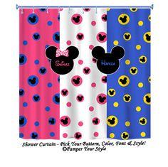 Mickey Disney Sibling  Disney Shower Curtain   Minnie And Mickey Shower  Curtain   Personalized Shower