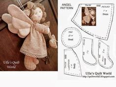 Best 11 I have made the pattern for this Quilted angel. The pattern is below. Just click the photo and it will become – SkillOfKing. Doll Crafts, Diy Doll, Sewing Crafts, Sewing Projects, Christmas Sewing, Diy Christmas Gifts, Crochet Angels, Angel Crafts, Doll Tutorial