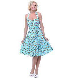 4ebb6301626c 1950 s Style Heartbreaker Fresh Blue Cherry Sweetie Dress  uniquevintage  Vintage Soul
