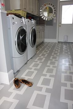 painted laundry room floor.  one day i will have a laundry room that i enjoy being in...