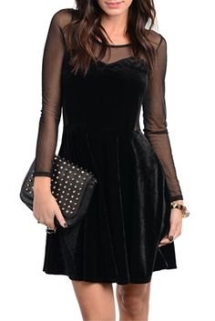 Chic Mesh Long Sleeve Velvet Dress