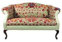 "Suzani-Upholstered  Settee on OneKingsLane.com described by Furbish Studio Unique vintage camelback settee, newly upholstered in a gorgeous suzani textile and coordinating green ticking stripe. A lovely blend of fabrics makes this piece truly one-of-a-kind. Seat, 20""W x 19""H."