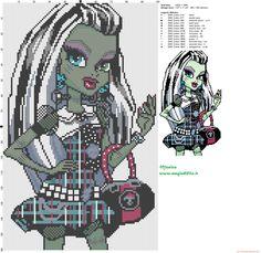 Frankie Stein (Monster High) patrón punto de cruz