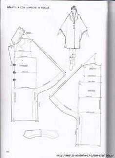 Capa estilizada Dress Making Patterns, Easy Sewing Patterns, Coat Patterns, Clothing Patterns, Sewing Blouses, Sewing Coat, Sewing Lessons, Pattern Drafting, Hand Embroidery Designs
