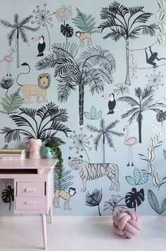 New Baby Wallpaper Girl Beds Ideas Baby Wallpaper, Kids Room Wallpaper, Bedroom Color Schemes, Bedroom Colors, Baby Room Decor, Bedroom Decor, Kids Room Design, Kids Decor, Home Decor