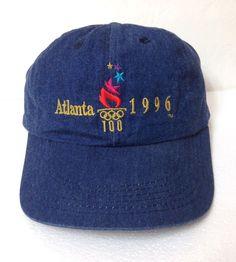 67aec595c64b35 Vtg 1996 ATLANTA SUMMER OLYMPIC GAMES HAT dark blue jean/denim-look dad cap