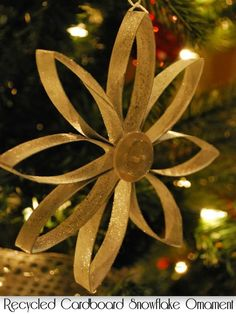Under The Table and Dreaming: Recycled Cardboard Snowflake Ornament featuring Allison from A Glimpse Inside {Handmade Ornament No.12}