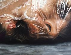 For Brazilian artist Fábio Magalhães' hyperrealist oil paintings, the more grotesque the better. Using gruesome body horror imagery such as hacked up, barely identifiable body parts and suffocated faces in plastic bags, Magalhães' work is as incisive as it is skillfully rendered. The b