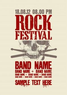 Rock festival design template with scull and place for text. Stock Photo