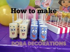 How to make Dora The Explorer Party Decorations with FREE Printables at home - YouTube