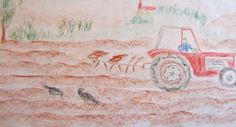 Farmer and his tractor drawn by Ute Luebeck