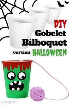 Voilà un bricolage d'Halloween facile et amusant qui va plaire aux enfants ! Décorez un gobelet en carton pour le transformer en monstre d'Halloween. Le cerveau du monstre est suspendu à un fil et il faudra le remettre dans le gobelet en faisant preuve d'agilité afin de gagner la partie.