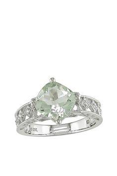 10K White Gold Cushion Cut Green Amethyst & Diamond Accent Cutout Ring