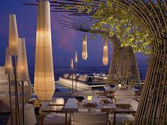 Inbi restaurant and sushi bar on Costa Navarino, Greece/ Other Rooftops We Love! The 360 at Skyline is a dynamic, luxury rooftop in Denver, CO and we can't wait for these ideas to come to life here on our rooftop! Bar Lounge, Rooftop Lounge, Rooftop Bar, Outdoor Lounge, Outdoor Dining, Rooftop Garden, Dining Area, Pool Bar, Restaurant Bar