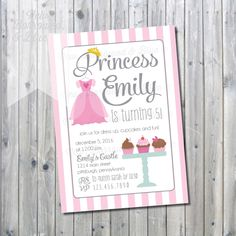 Printable Princess and Cupcakes Birthday Invite by NewBorrowedAndBlue on Etsy https://www.etsy.com/listing/198195885/printable-princess-and-cupcakes-birthday