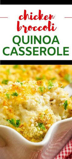 This Chicken Broccoli Quinoa Casserole is easy to make and packed with flavor! With cheddar, goat cheese and a hint of kick this healthy recipe makes a great family meal. Make it vegetarian by substituting tempeh for the chicken. #quinoacasserole #quinoa #healthycasserole Gluten Free Recipes For Dinner, Gluten Free Pasta, Healthy Gluten Free Recipes, Dinner Recipes, Broccoli Quinoa Casserole, Quinoa Broccoli, Chicken Broccoli, Pasta Substitute, Tempeh