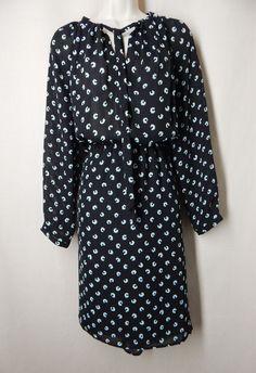 ANN TAYLOR LOFT Size 10 Black Blue Floral Blouson Dress Long Sleeves #AnnTaylorLOFT #Blouson