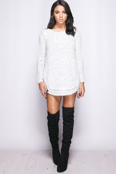 Jackie White Knitted Jumper Dress at misspap.co.uk