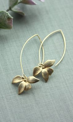 Orchid Flower Earrings. An Orchid Long Chic Drop
