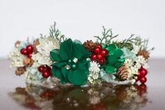 Flower Crown - Christmas Halo- Wedding - Newborn Photo Prop - Wedding Crown - Floral Hairpiece - Holiday Prop - Christmas Crown - Green by LittleLadyAccessory on Etsy