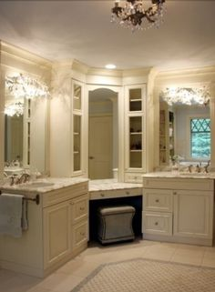 His and Hers Sinks... Don't want as girly... But like the sinks separated!