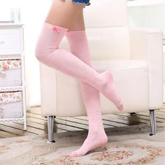 [leggycozy] Kawaii Campus Cute Pink Heart Pattern Bowknot Thigh High S Over Knee Socks, Thigh High Socks, Thigh Highs, Lady Stockings, Sexy Socks, Cute Girl Outfits, Kids Outfits, Stocking Tights, Fashion Socks