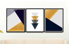 Scandi Print Geometric art Print Triptych Printable Art