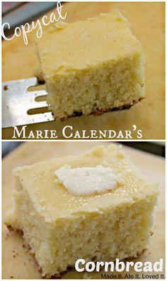 Copycat Marie Calendar's Corn Bread - from Vergès {Made It. Ate It. Loved It.} My hubbs loves this stuff Marie Calendar Cornbread Recipe, Kopy Kat Recipe, Birthday Dinners, Cake Recipes, Cornbread Recipes, Cornbread Cake, Cornbread Muffins, Restaurant Recipes, Sweet Bread