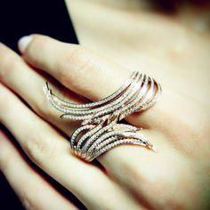 plukka jewelry | Universe' Wavy Champagne Diamond & Black Gold Band,Champagne Diamond ...