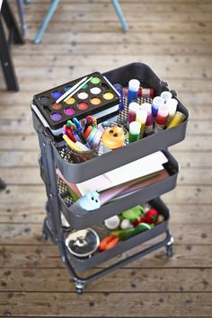 Creativity in a cart! Use your IKEA RÅSKOG utility cart as an art cart that can be ready to roll whenever inspiration strikes, adapting to any family-friendly craft project.