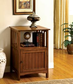 Furniture Of America Telephone Stand W/ Single Door Cm-Ac280 Sanca I Collection